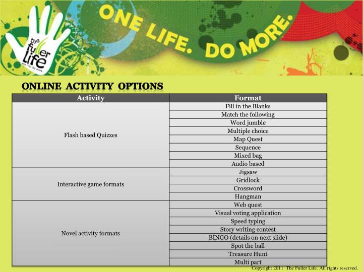 Online  Activity  Options
