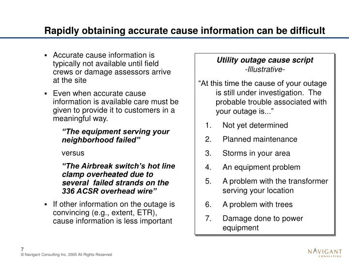Rapidly obtaining accurate cause information can be difficult