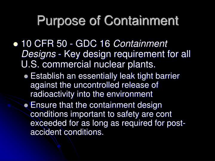 Purpose of Containment