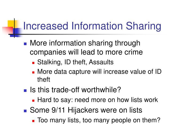 Increased Information Sharing