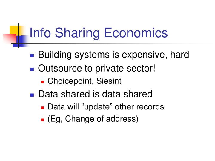 Info Sharing Economics