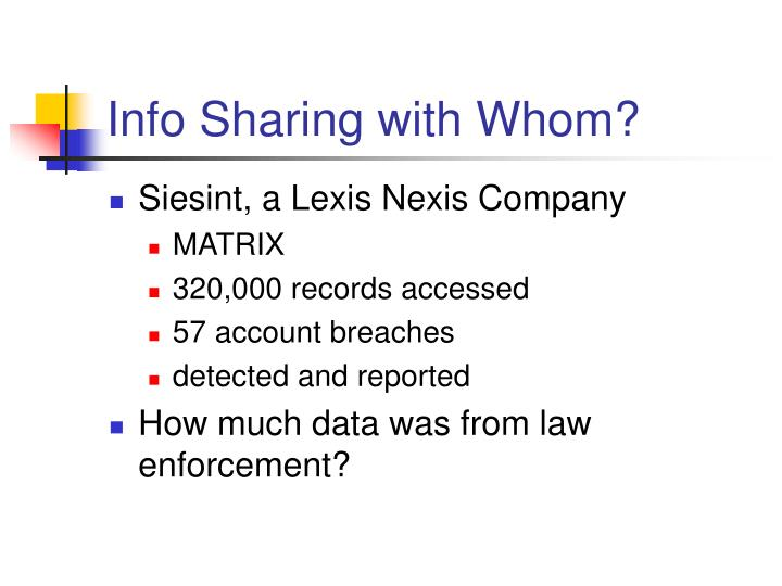 Info Sharing with Whom?