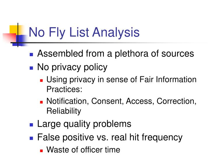 No Fly List Analysis
