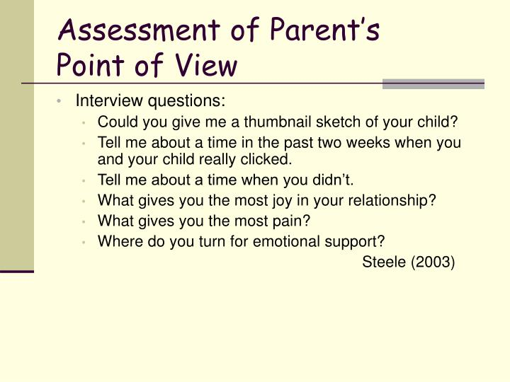 Assessment of Parent's