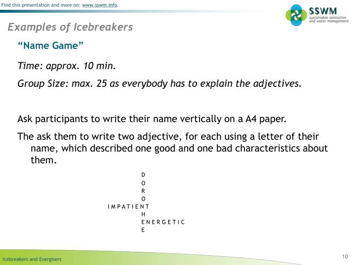 Examples of Icebreakers