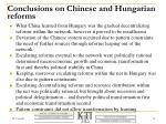conclusions on chinese and hungarian reforms