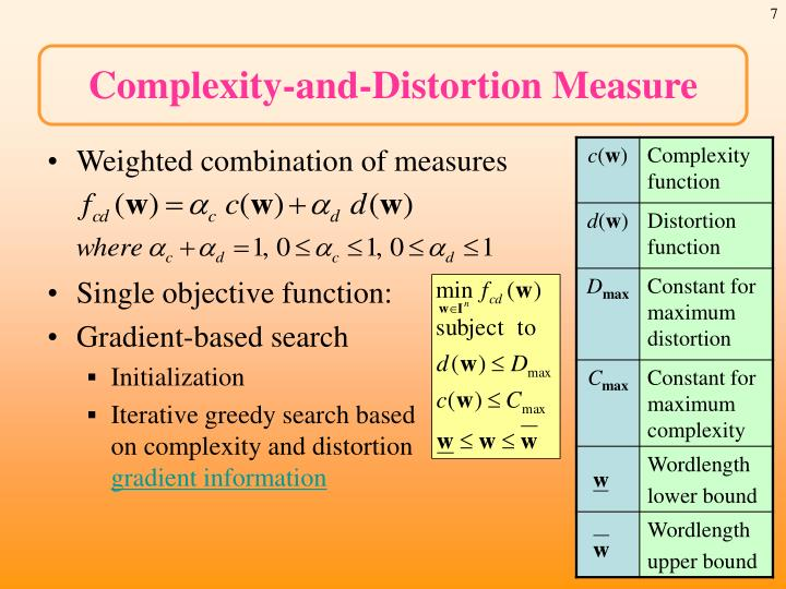 Complexity-and-Distortion Measure
