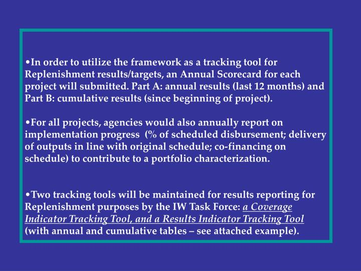 In order to utilize the framework as a tracking tool for Replenishment results/targets, an Annual Sc...