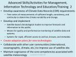 advanced skills activities for management information technology and education training 2