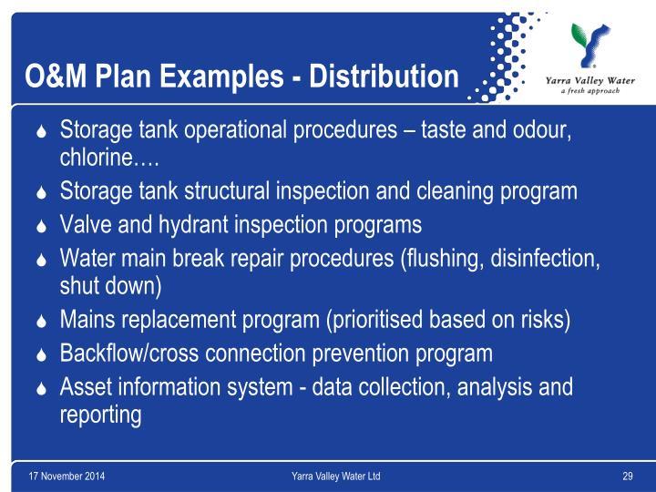 O&M Plan Examples - Distribution