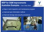 wsp for o m improvements australian examples yarra valley water