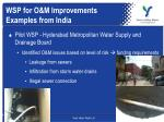 wsp for o m improvements examples from india
