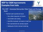 wsp for o m improvements examples from india1