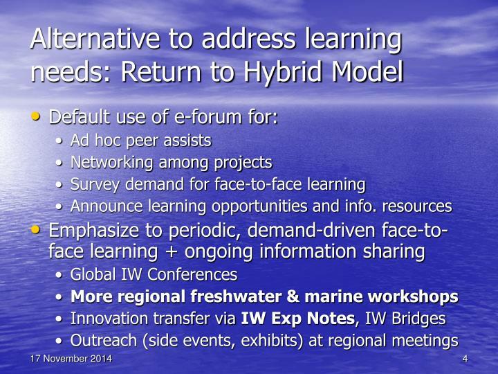 Alternative to address learning needs: Return to Hybrid Model