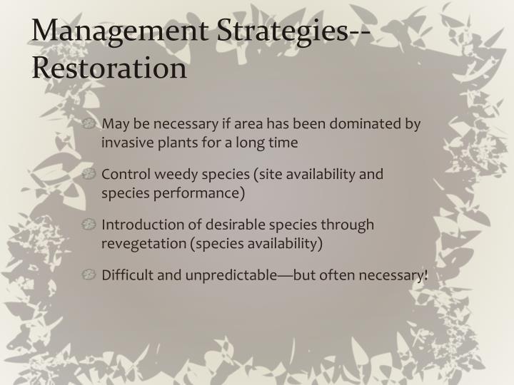 Management Strategies--Restoration