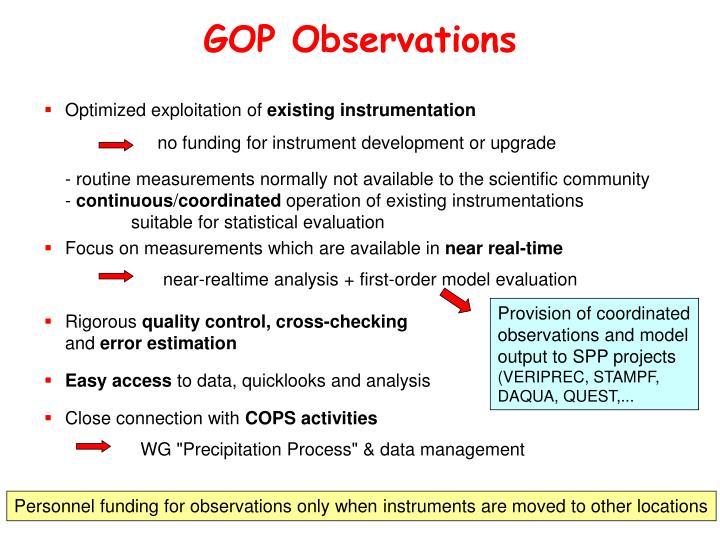 GOP Observations