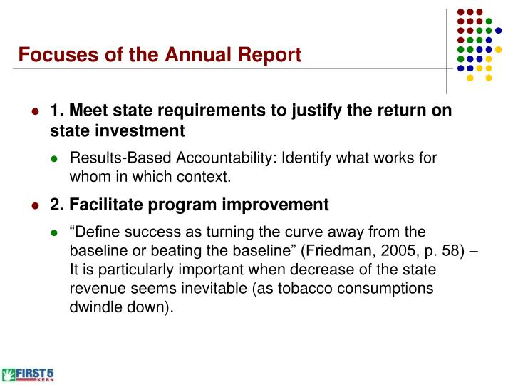 Focuses of the annual report