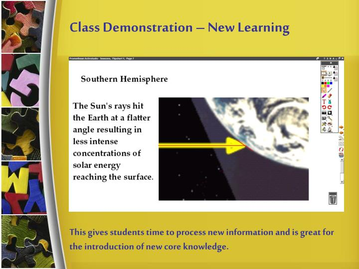 Class Demonstration – New Learning