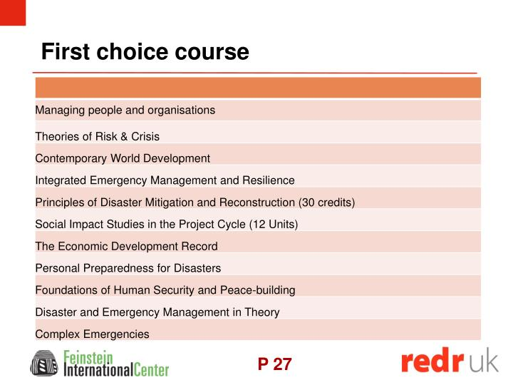 First choice course