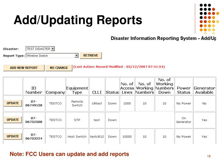Add/Updating Reports