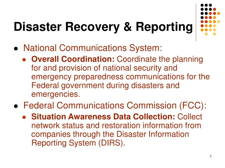 Disaster Recovery & Reporting