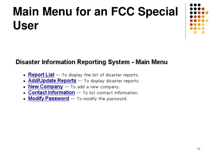 Main Menu for an FCC Special User