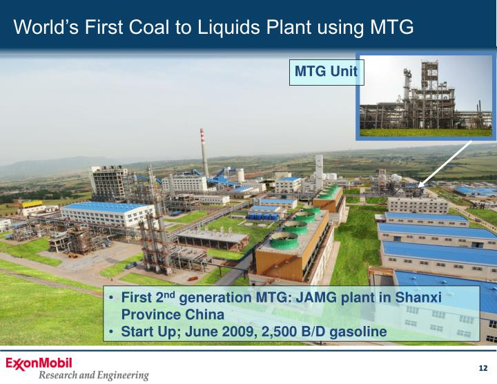 World's First Coal to Liquids Plant using MTG