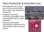 mass production assemble lines