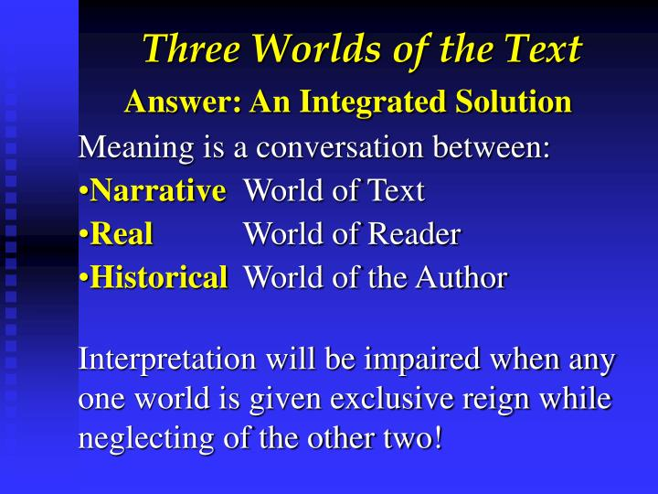 Three Worlds of the Text