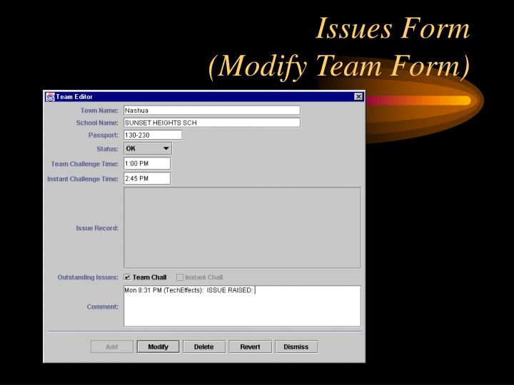 Issues Form
