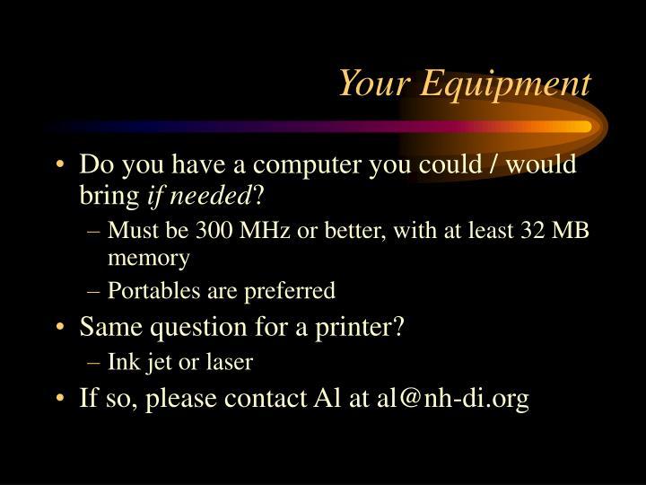 Your Equipment