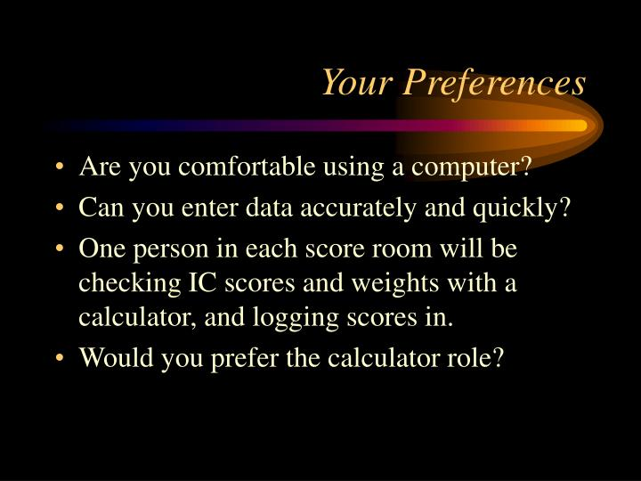 Your Preferences