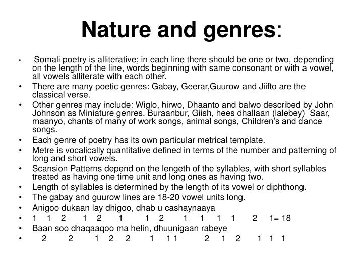 Nature and genres