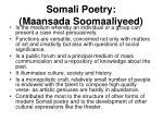 somali poetry maansada soomaaliyeed