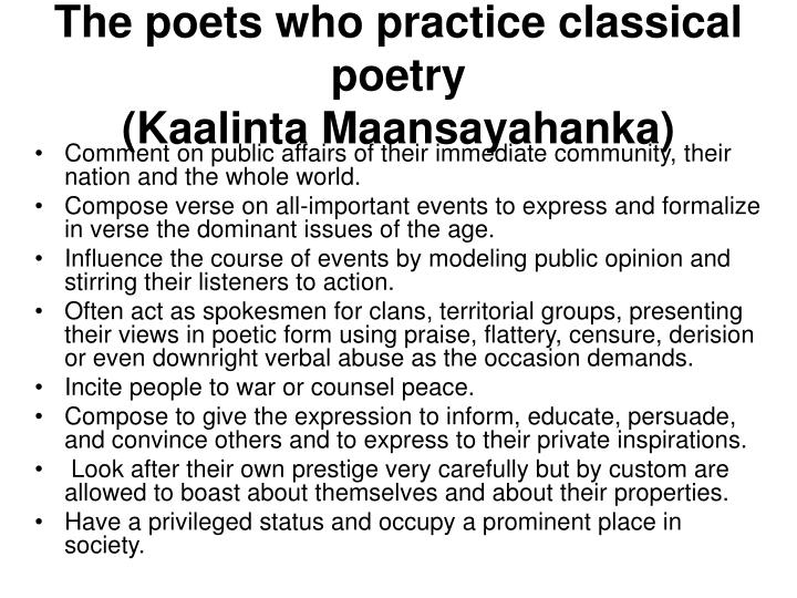 The poets who practice classical poetry