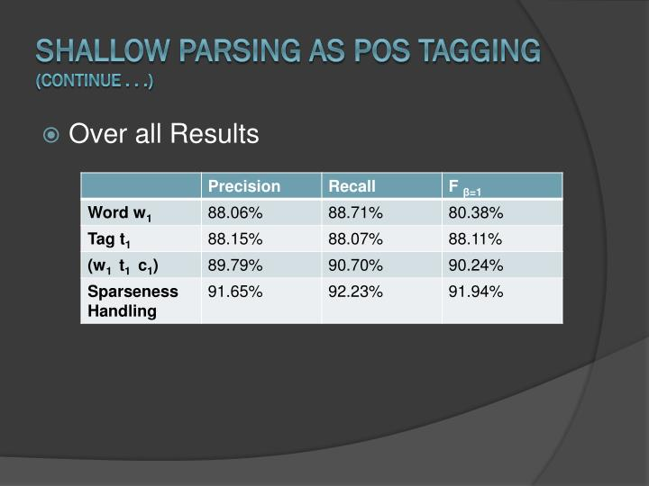 Shallow Parsing as POS Tagging
