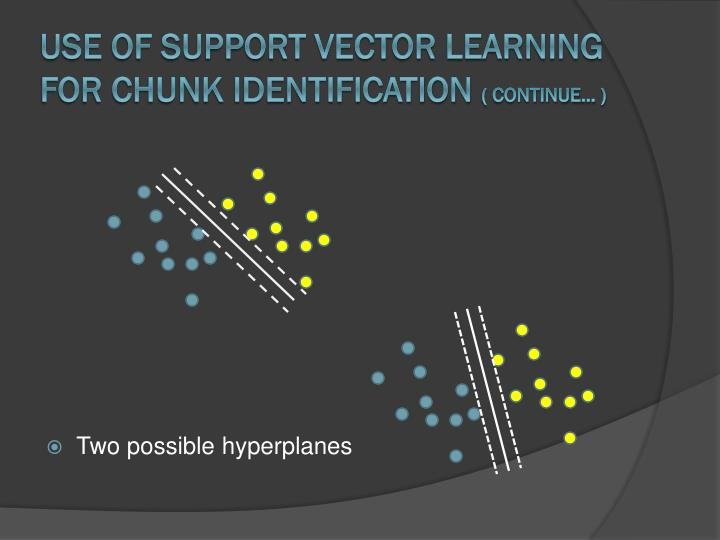 Use of Support Vector Learning for Chunk Identification