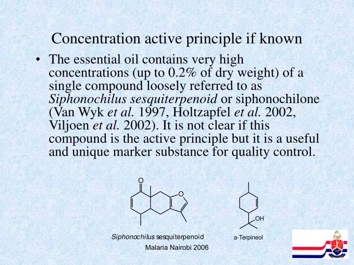 Concentration active principle if known