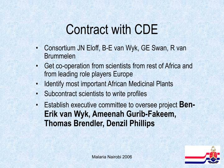 Contract with CDE