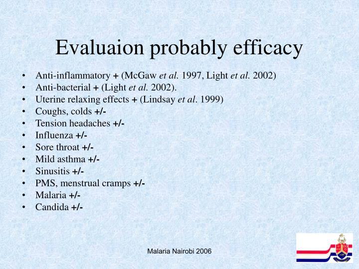 Evaluaion probably efficacy