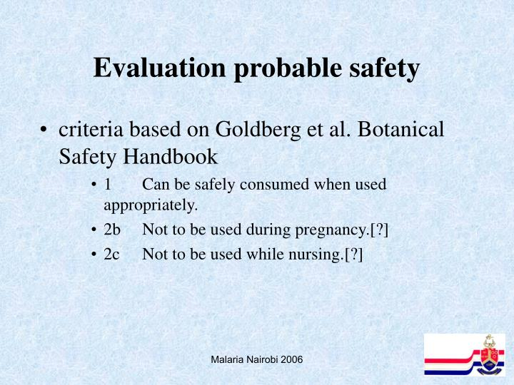 Evaluation probable safety