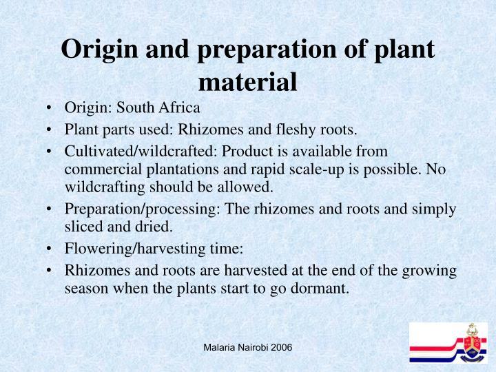 Origin and preparation of plant material