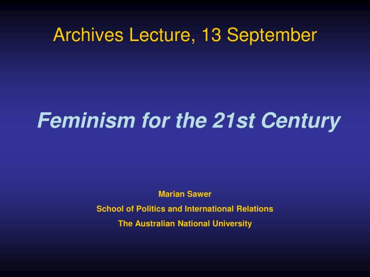 Archives Lecture, 13 September