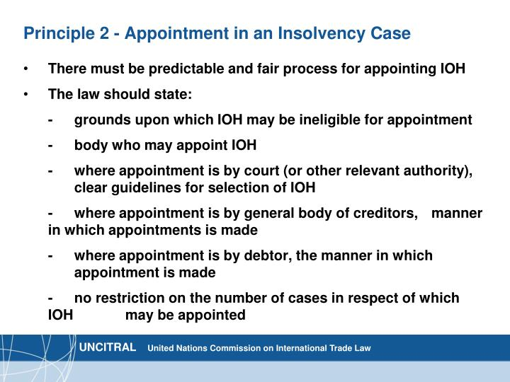 Principle 2 - Appointment in an Insolvency Case