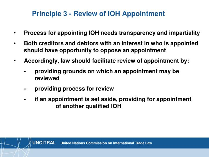 Principle 3 - Review of IOH Appointment