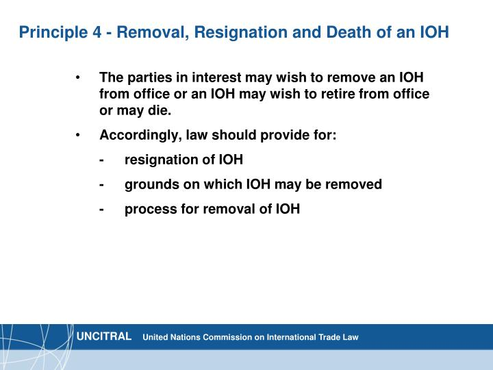 Principle 4 - Removal, Resignation and Death of an IOH