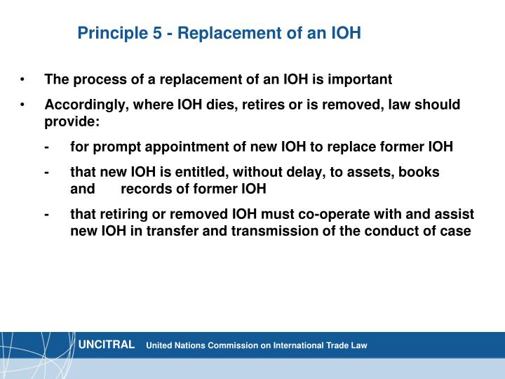 Principle 5 - Replacement of an IOH