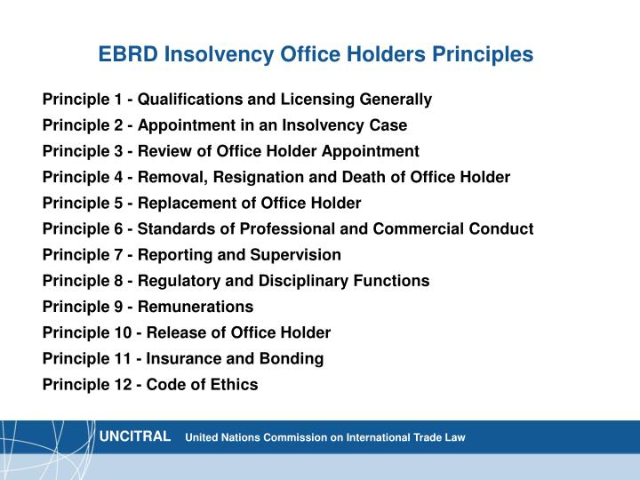 EBRD Insolvency Office Holders Principles