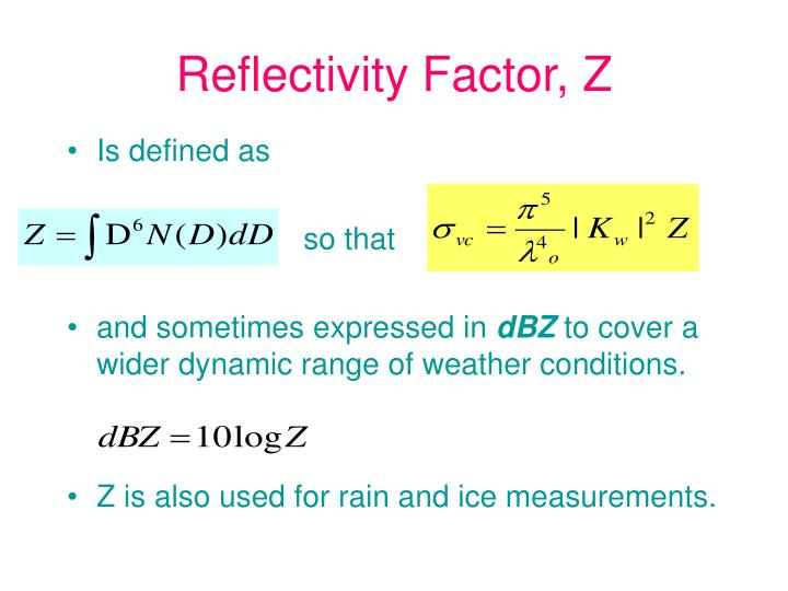 Reflectivity Factor, Z