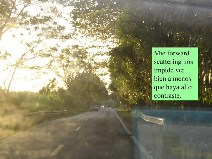 Mie forward scattering nos impide ver bien a menos que haya alto contraste.